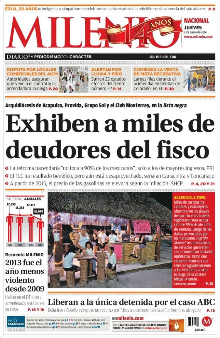 Periódico Milenio (México). Periódicos de México. Edición de jueves ...