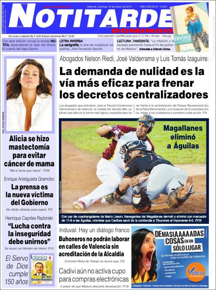 Periódico Notitarde (Venezuela). Periódicos de Venezuela. Edición ...