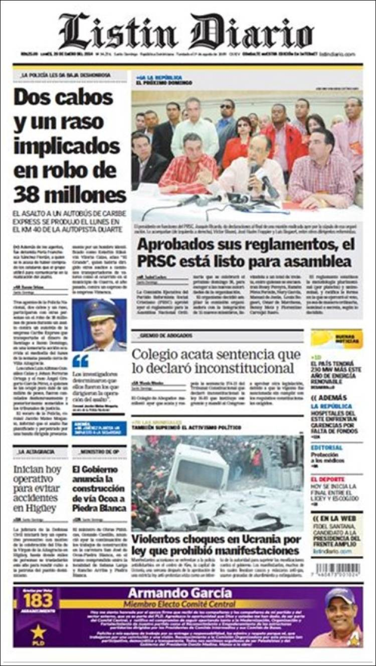 Newspaper Listín Diario (Dominican Rep )  Newspapers in
