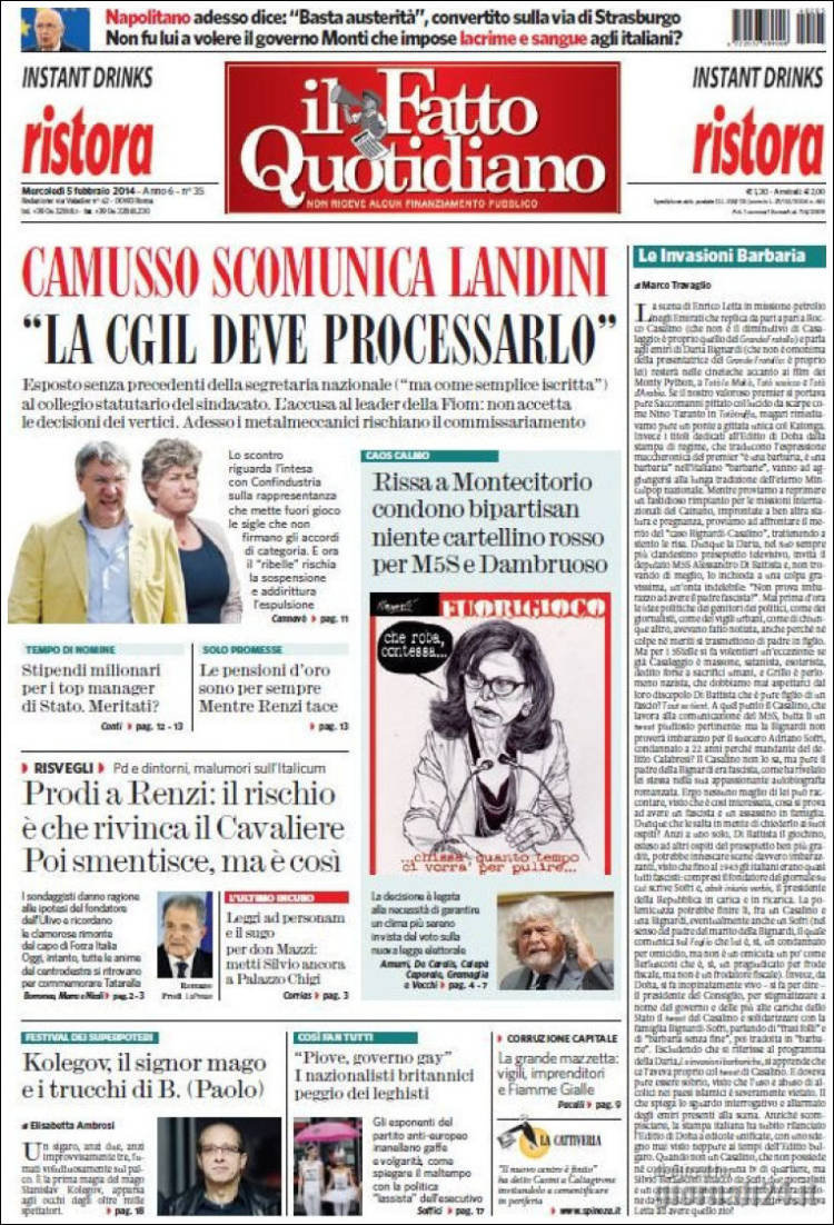 Portada de Il Fatto Quotidiano (Italia)