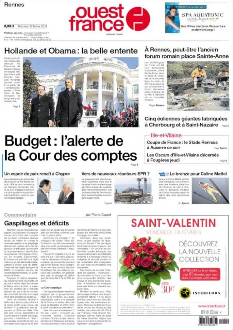journal ouest france france les unes des journaux de france dition du mercredi 12 de. Black Bedroom Furniture Sets. Home Design Ideas