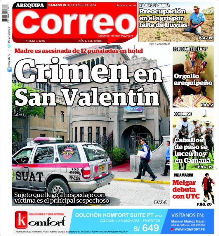 Portada de Diario Correo - Arequipa (Perú)