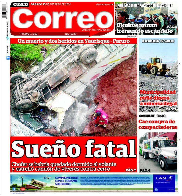 Portada de Diario Correo - Cusco (Perú)