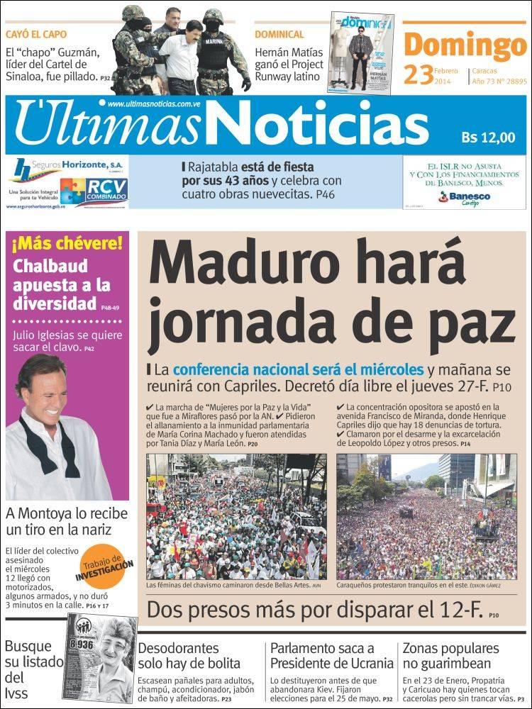 Ultimas noticias de venezuela hoy peri 243 dico 218 ltimas for Noticias del espectaculo del dia de hoy