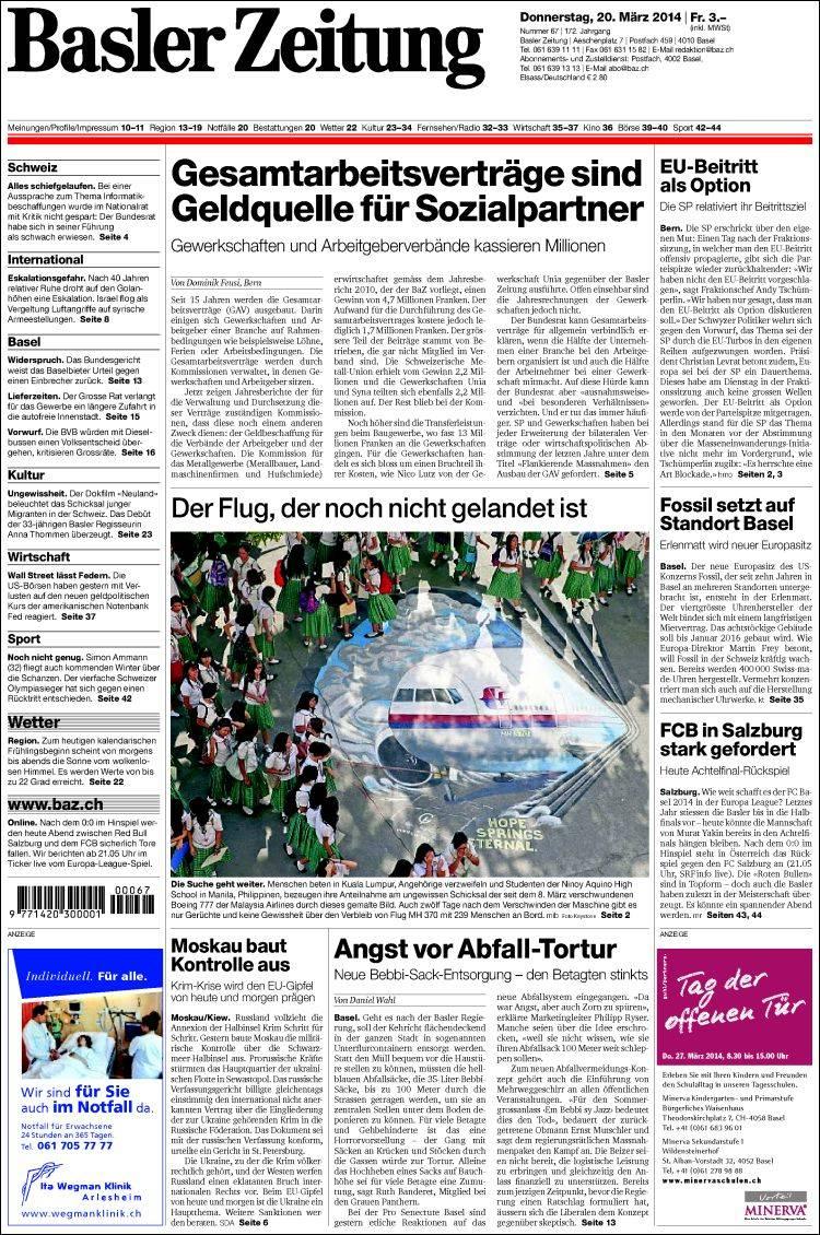 Portada de Basler Zeitung (Suiza)