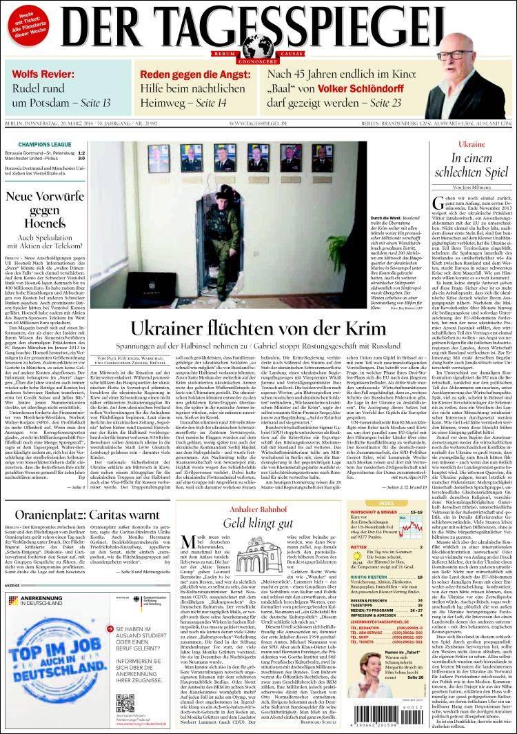 Portada de Der Tagesspiegel (Alemania)