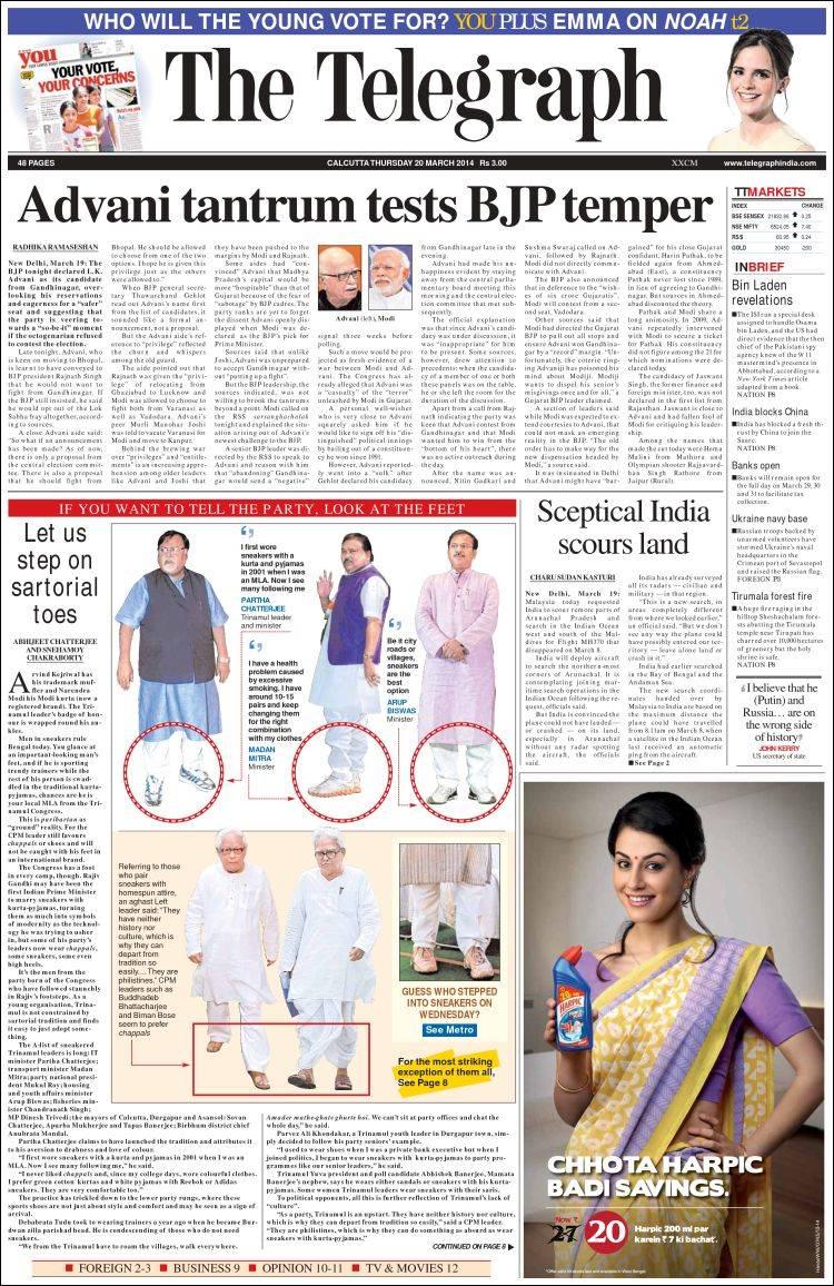 Portada de The Telegraph India (India)