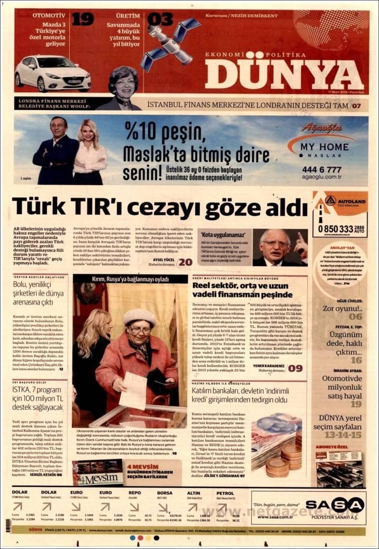 Portada de Dünya (Turquía)