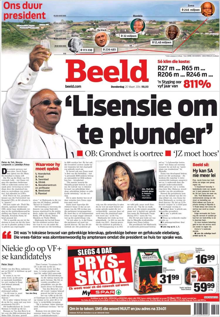 Portada de Beeld (Sudáfrica)