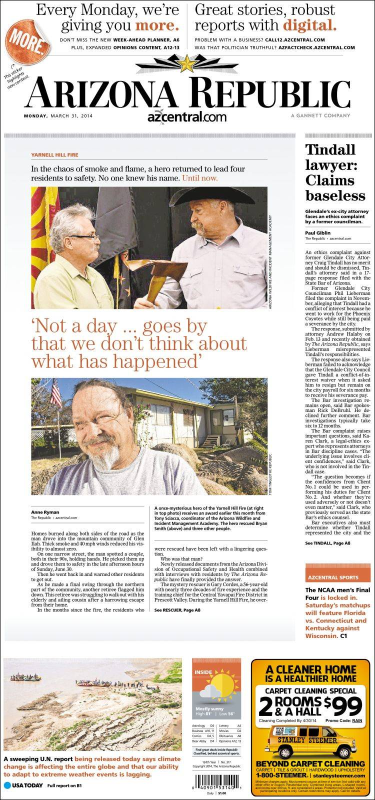 Portada de Arizona Republic News (USA)