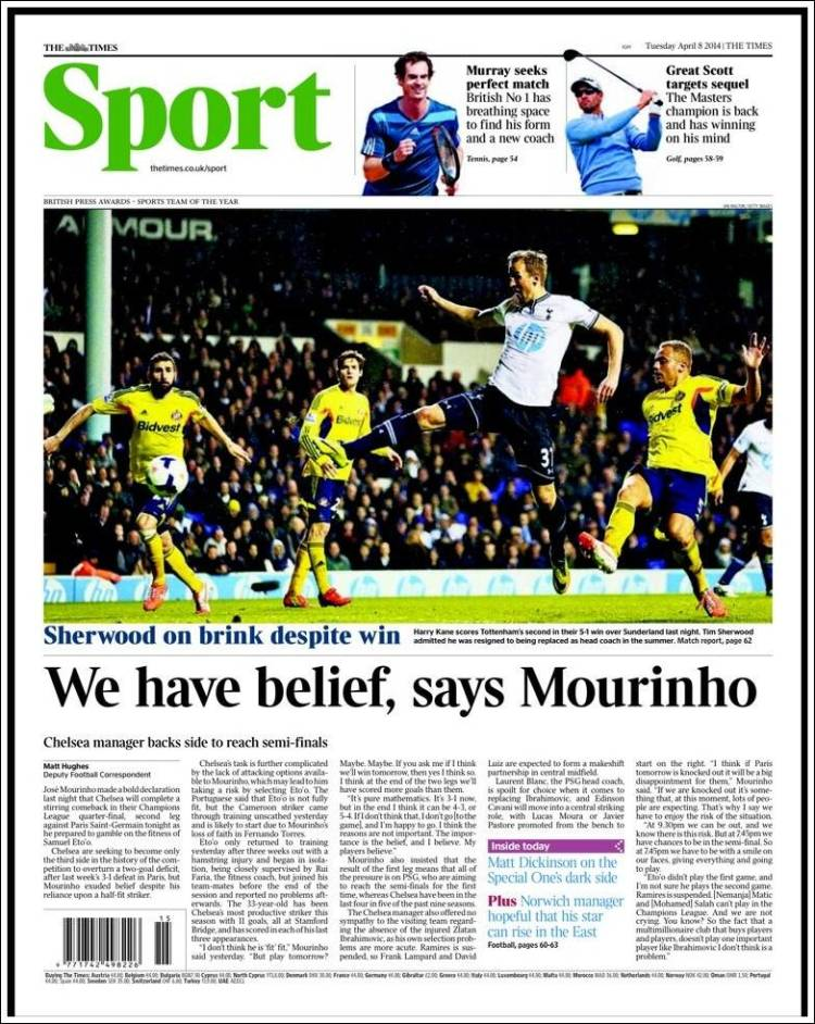 Portada de The Times Sport (United Kingdom)