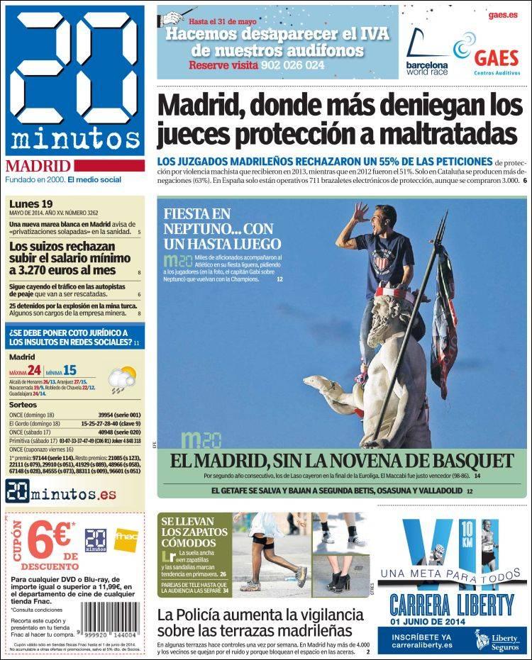 Periódico 20 Minutos Madrid España Periódicos De España