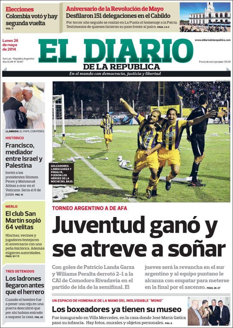 Peri dico diario de la rep blica argentina peri dicos for Noticias farandula argentina hoy