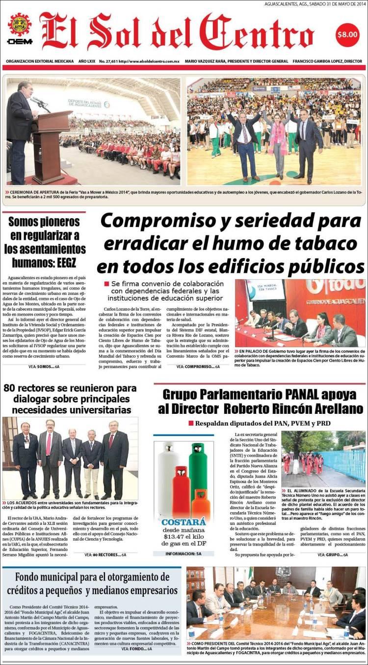 Periódico El Sol del Centro (México). Periódicos de México. Edición ...