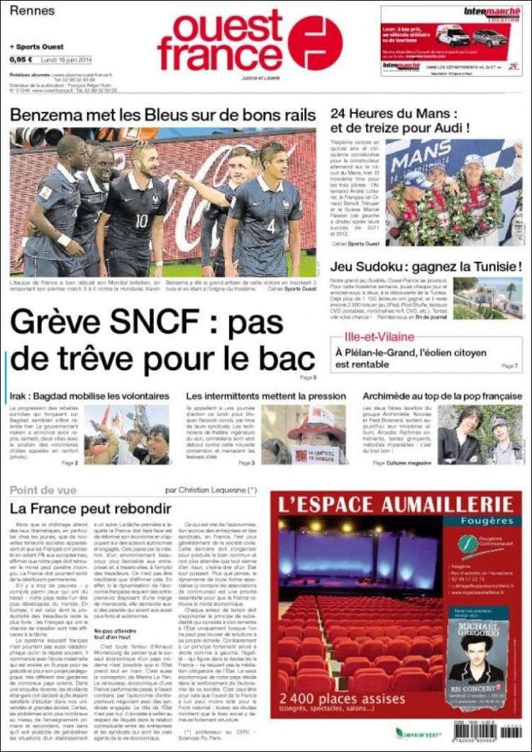 Journal ouest france france les unes des journaux de france dition du lundi 16 de juin de - Ouest france le journal gratuit ...