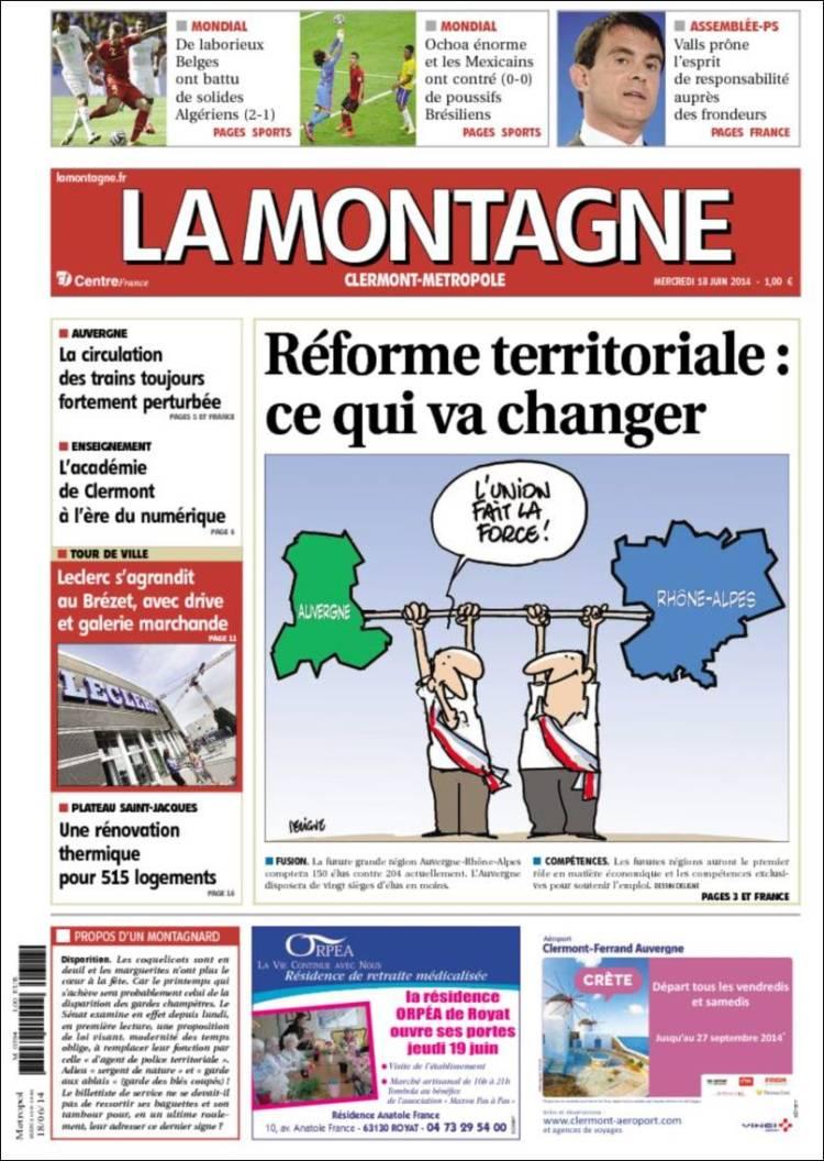 Journal la montagne france les unes des journaux de france dition du mer - Journal la montagne 15 ...