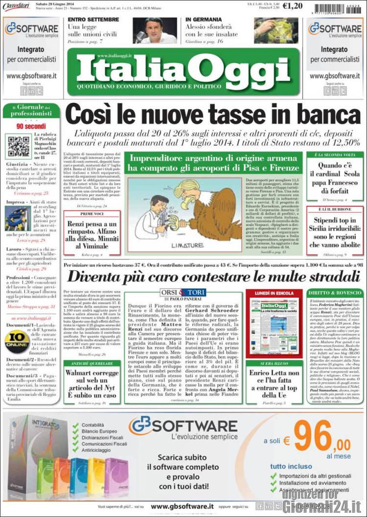 Portada de Italia Oggi (Italia)