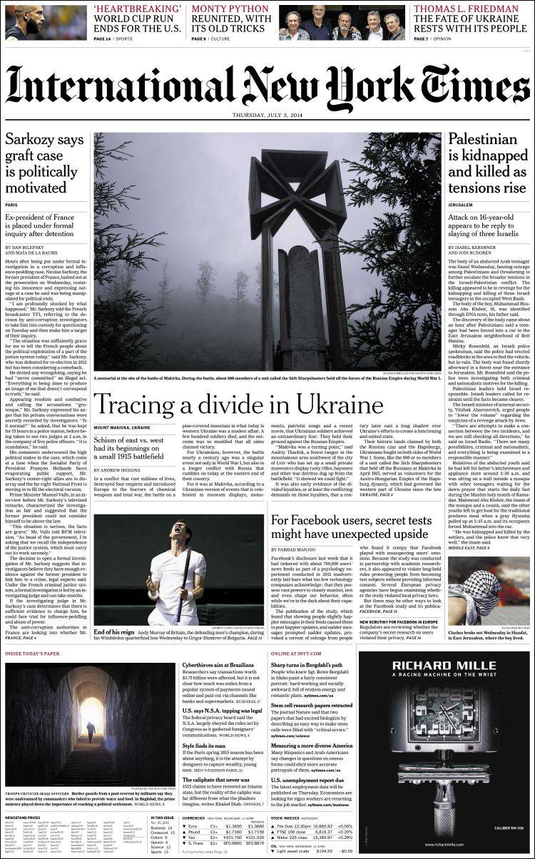 Portada de International Herald Tribune (Europa)