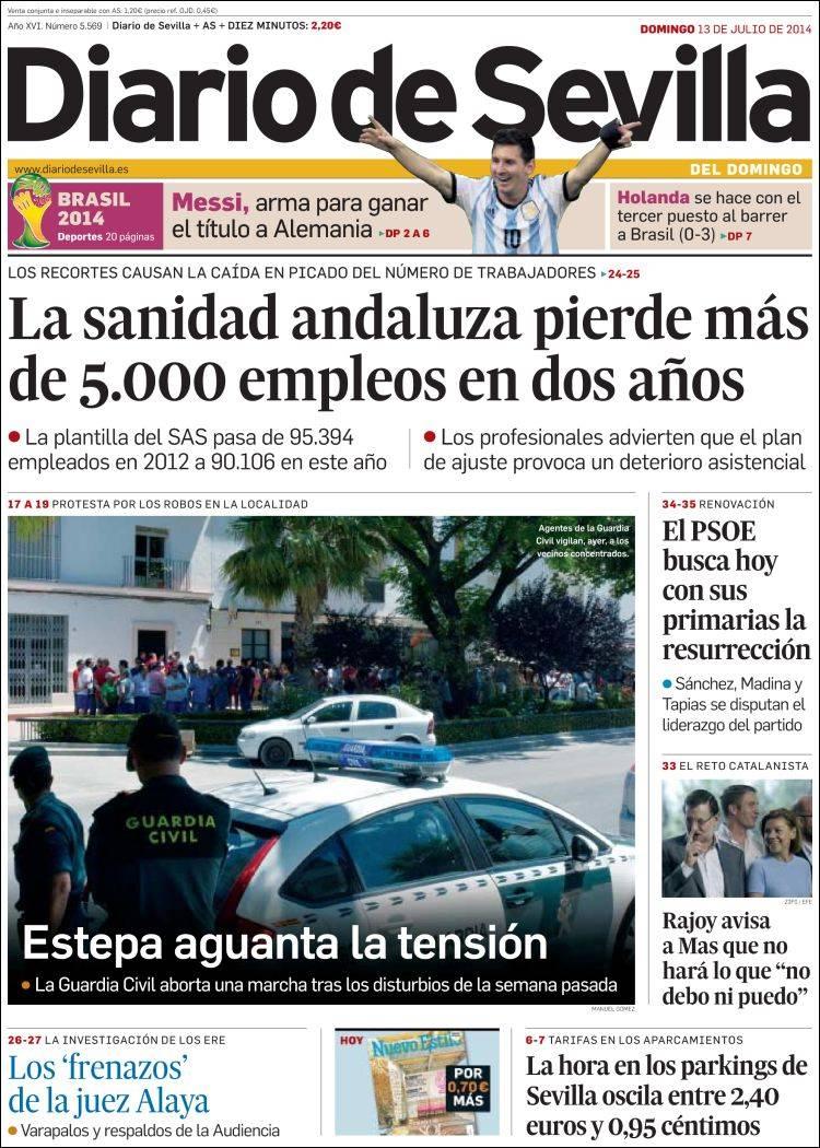 Periódico Diario de Sevilla (España). Periódicos de España. Edición ...