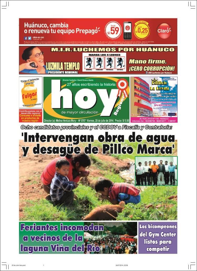 Portada de Hoy Perú (Perú)