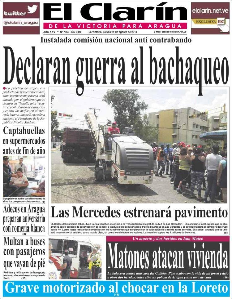 Portadas de la prensa regional en Venezuela este jueves 21 de agosto de 2014
