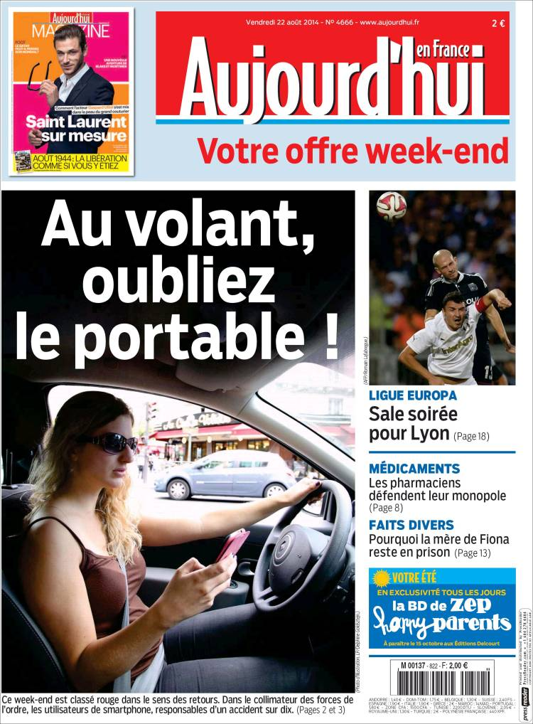 Portada de Aujourd'hui en France (France)