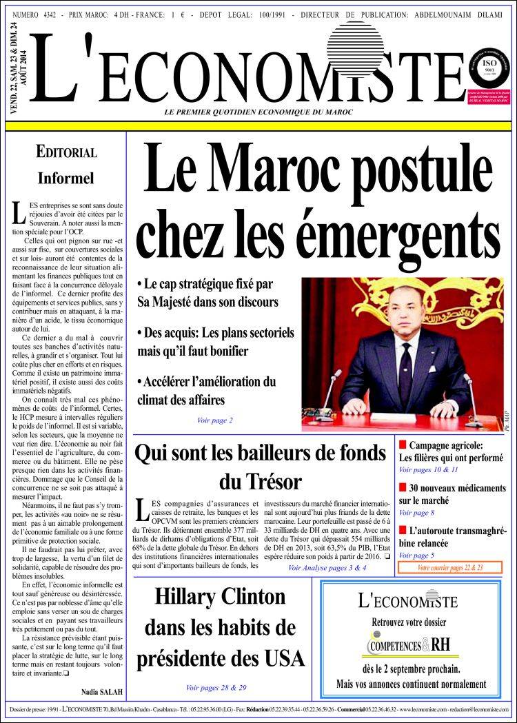 Portada de L'Economiste (Morocco)
