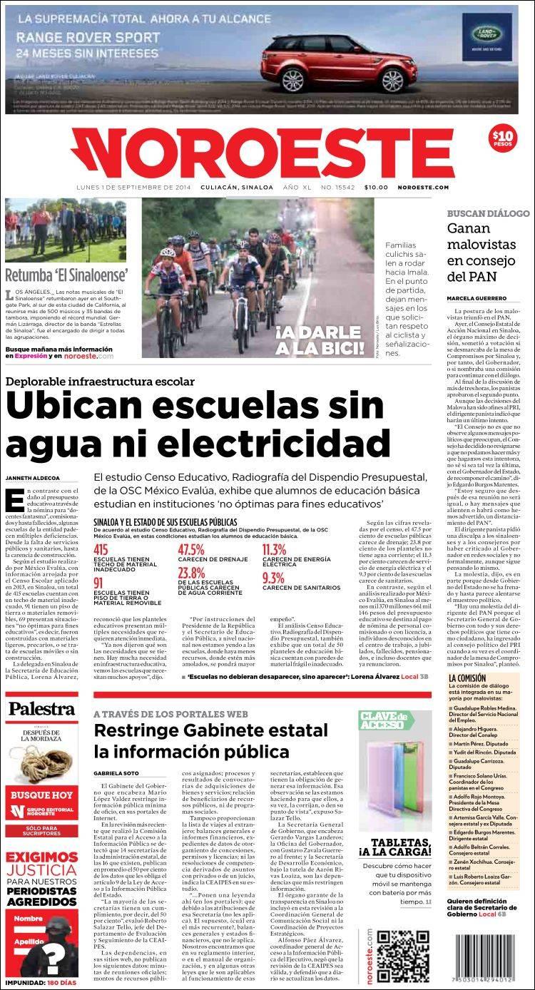 Portada de Periódico Noroeste (Mexico)