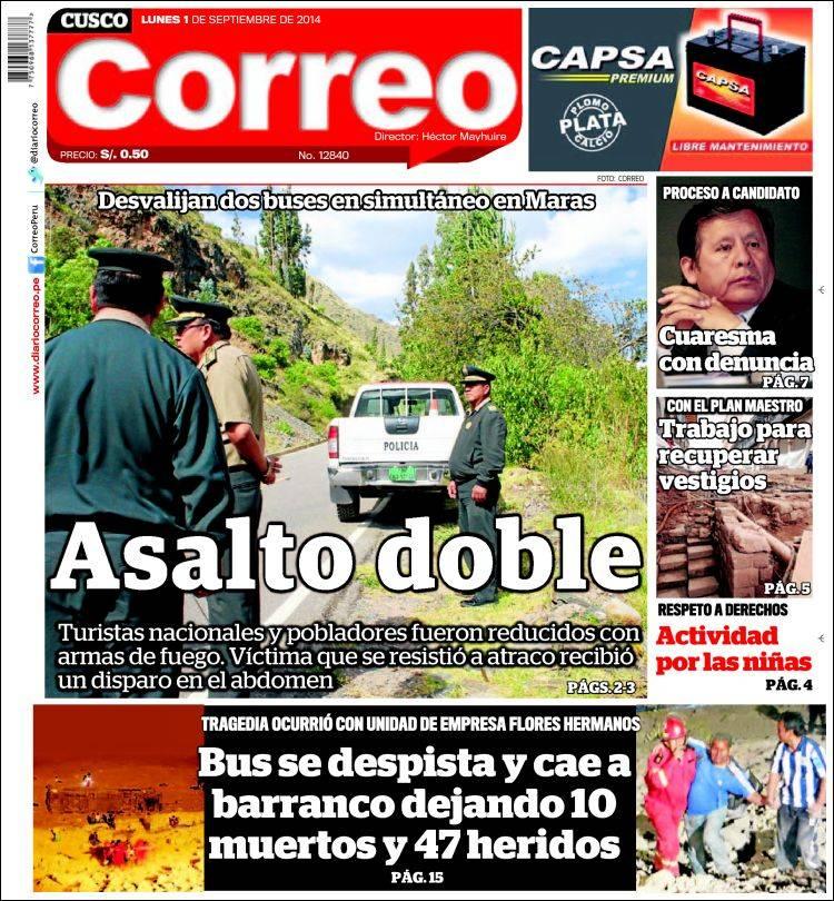 Portada de Diario Correo - Cusco (Peru)