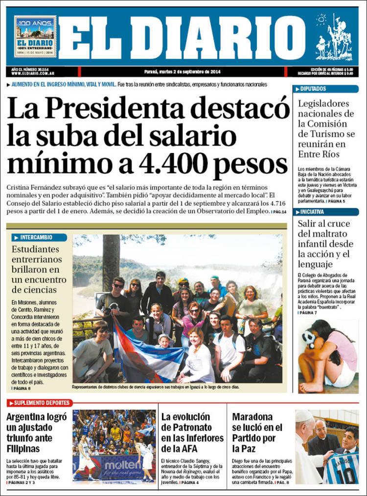 Portada de El Diario de Paraná (Argentina)