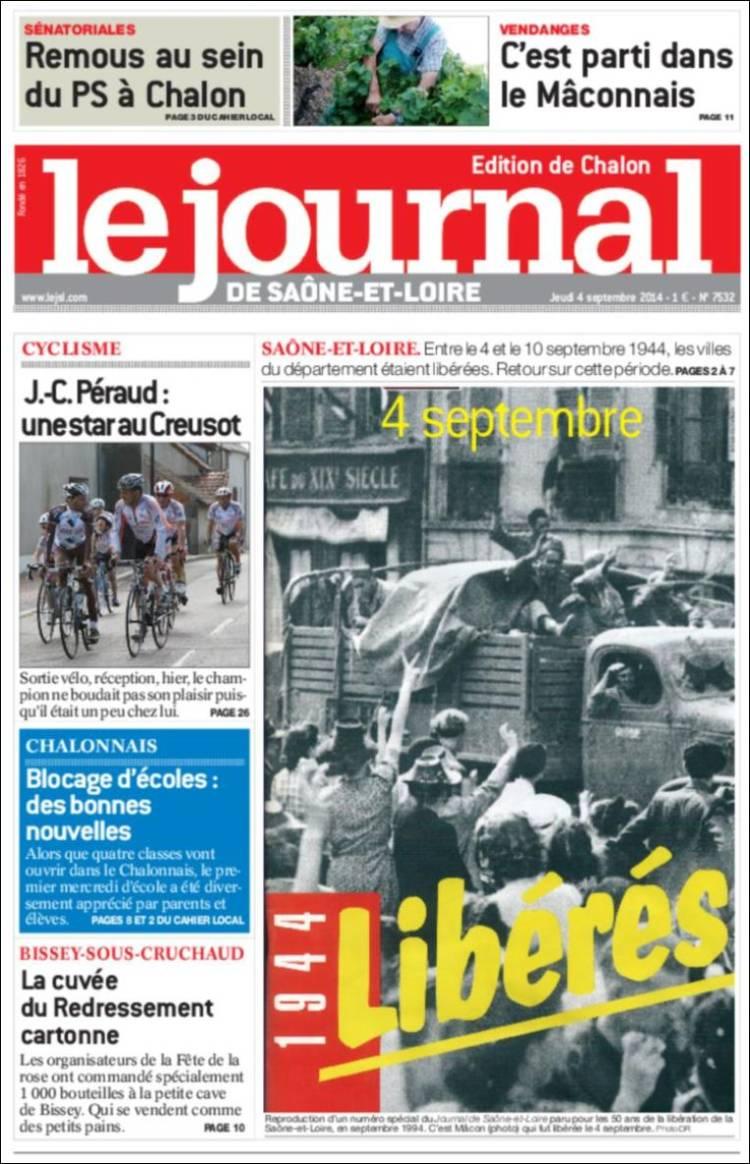 Portada de Journal de Saône-et-Loire (Francia)