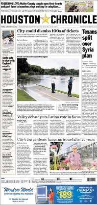 Portada de Houston Chronicle (USA)