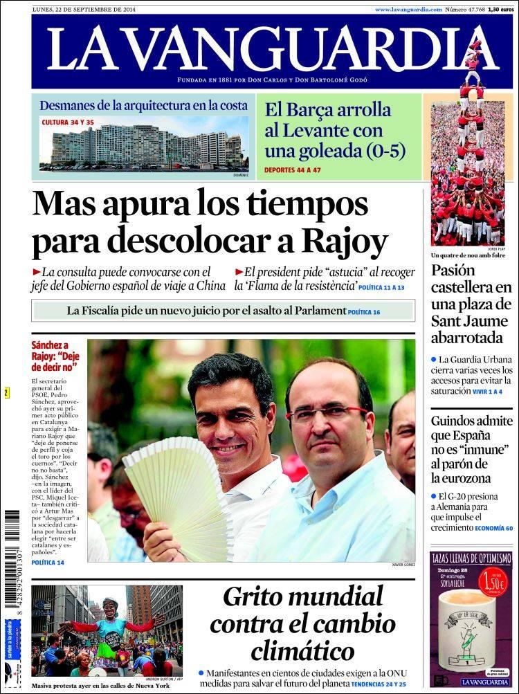 Portada de La Vanguardia (Spain)