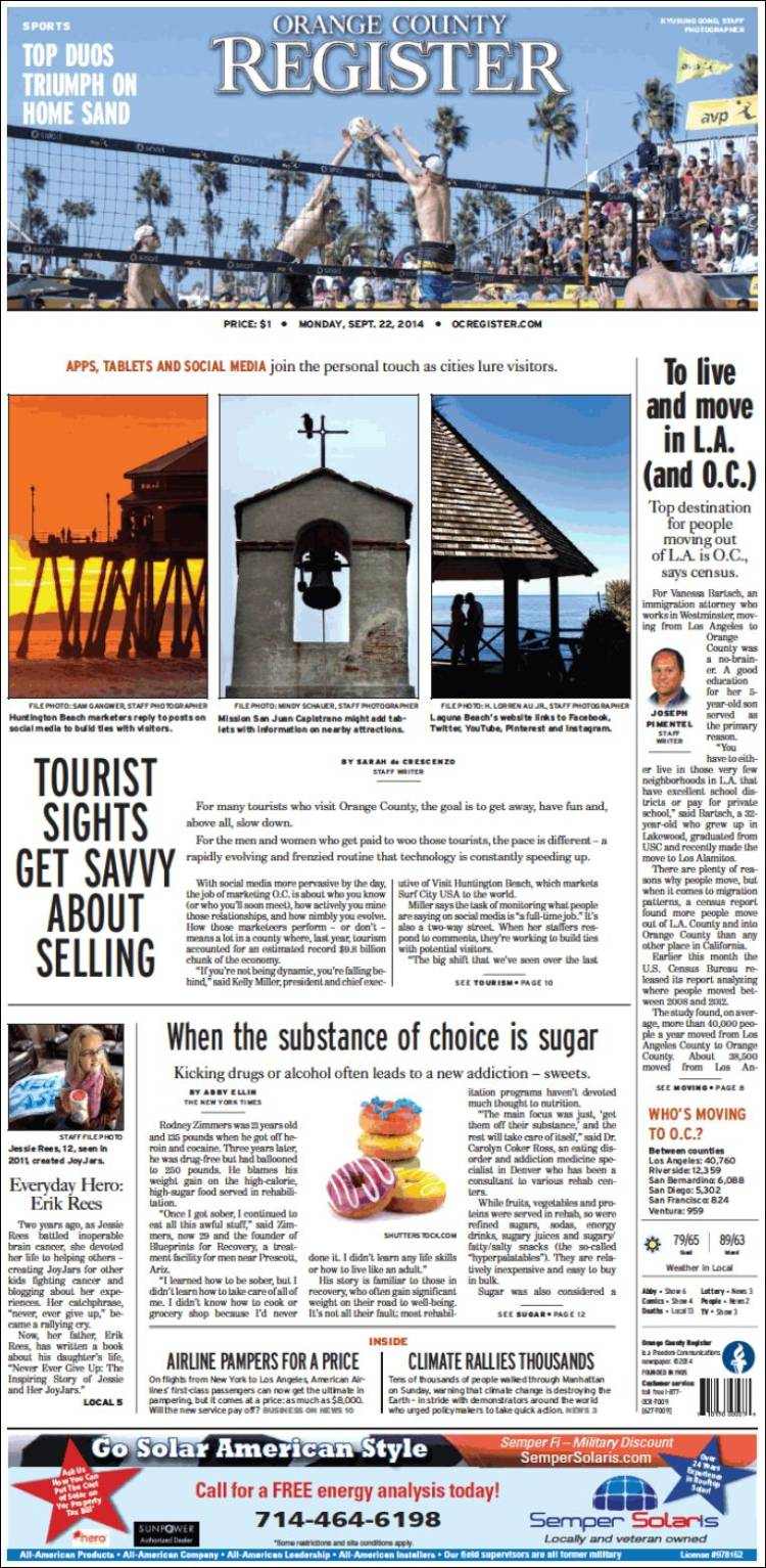 Newspaper The Orange County Register (USA). Newspapers in ...