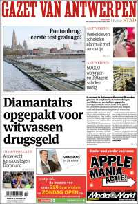 Portada de Gazet van Antwerpen (Belgique)