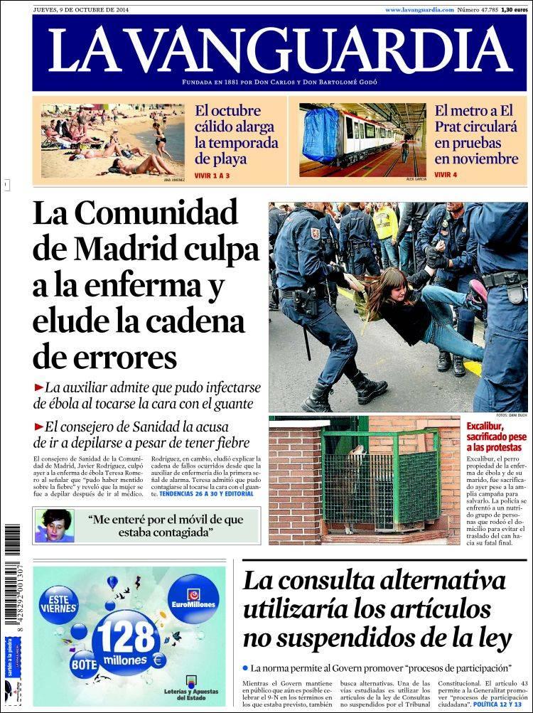 La vanguardia 09 10 2014 la prensa diaria - Portada de la vanguardia ...