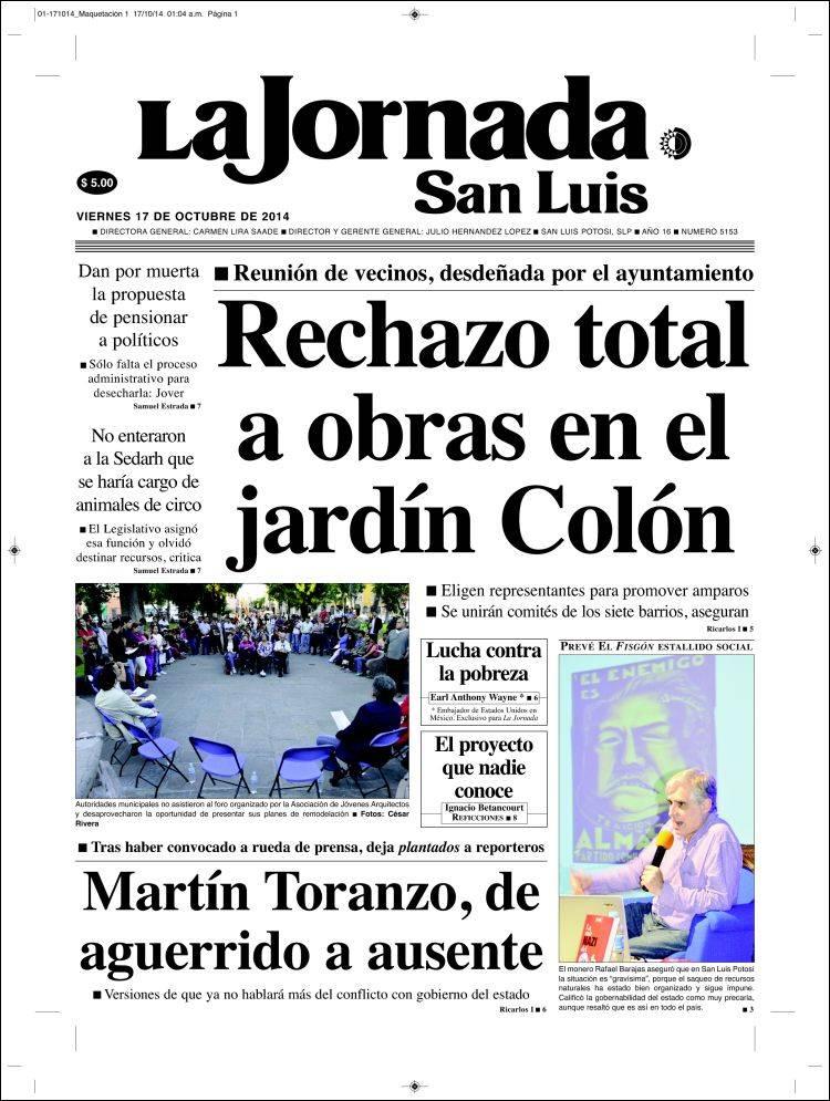 Portada de La Jornada de San Luis (México)