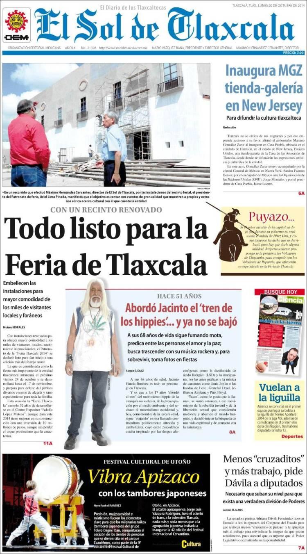 Portada de El Sol de Tlaxcala (Mexico)