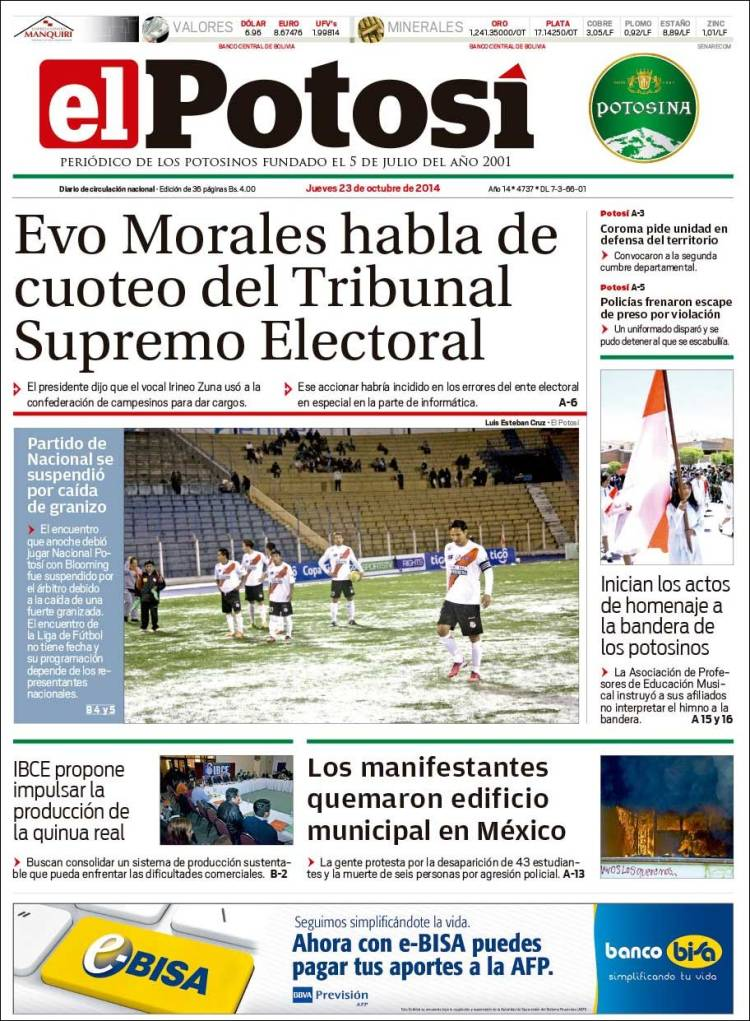 Portada de Diario de Potosí (Bolivia)