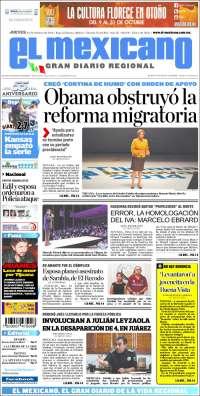 Portada de El Mexicano - El Gran Diario Regional (Mexico)