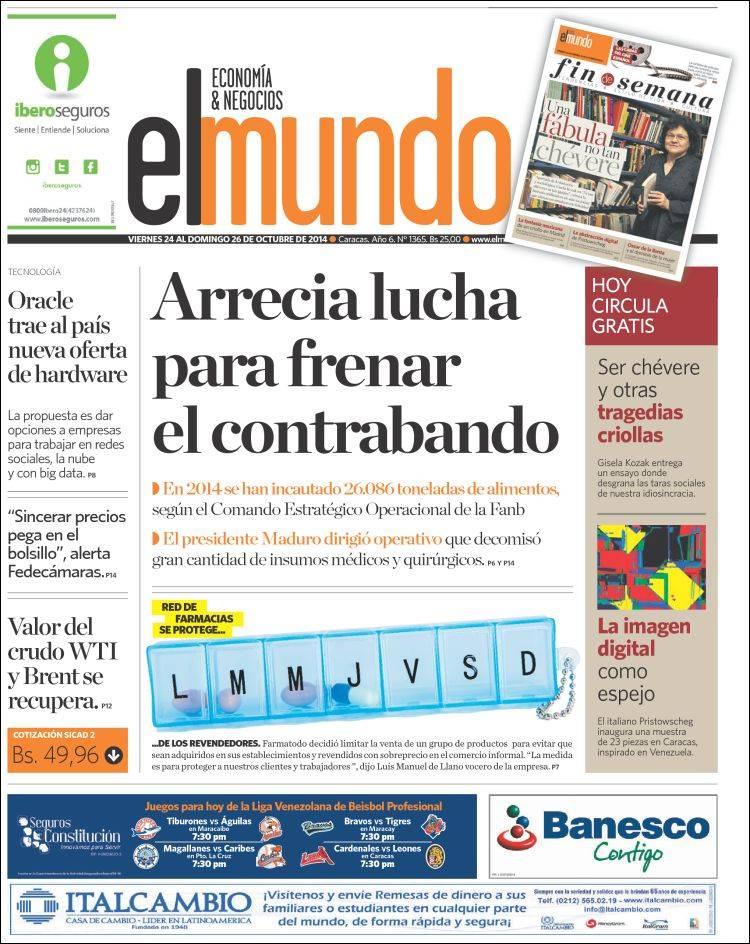 Portada de El Mundo - Economía & Negocios (Venezuela)