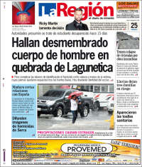 Portada de Diario La Región (Venezuela)