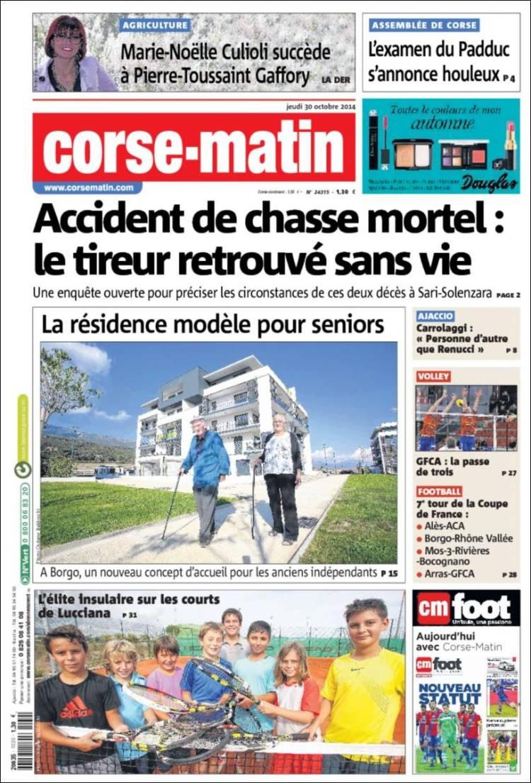 Portada de Corse-Matin (Francia)