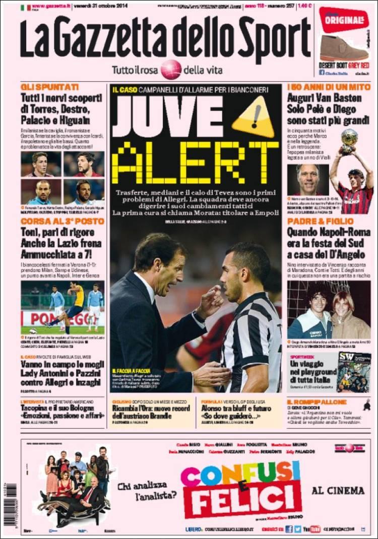 Portada de La Gazzetta dello Sport (Italia)