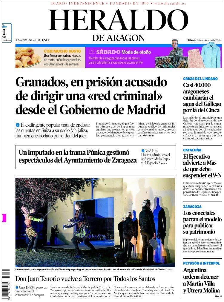 Portada de Heraldo de Aragón (España)