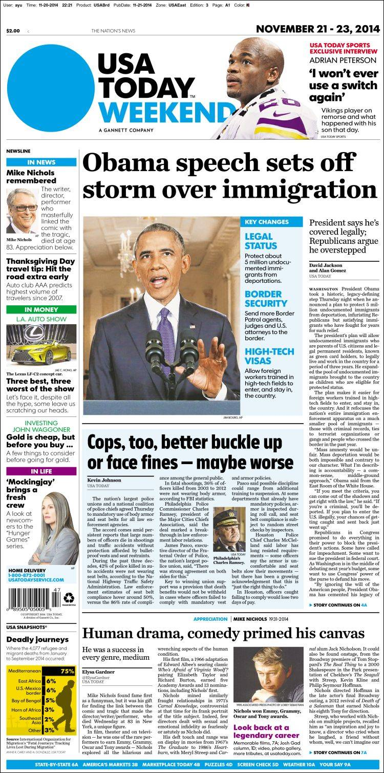 Portada de USA Today (USA)