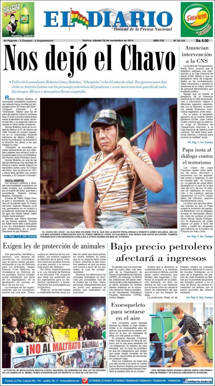 Peri dico noticias el diario bolivia peri dicos de for Lo ultimo en noticias del espectaculo