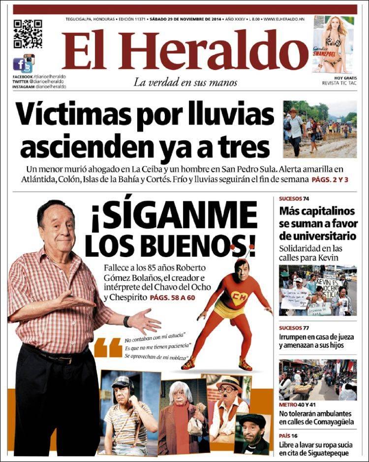 Diarios del mundo despiden a 39 chespirito 39 for Chimentos farandula argentina hoy