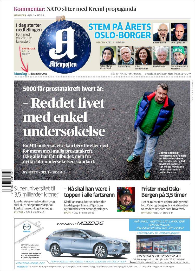 Portada de Aftenposten (Noruega)