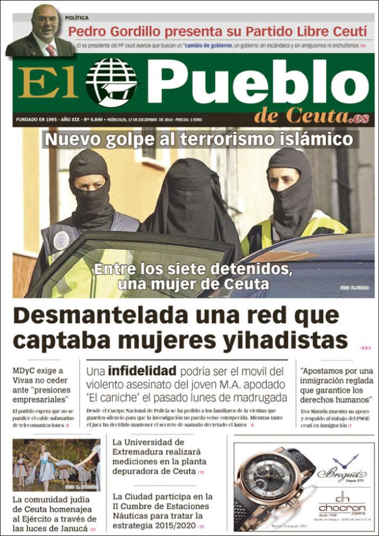 Portada de El Pueblo de Ceuta (España)